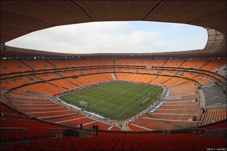 Soccer City sits empty ahead of the opening ceremony