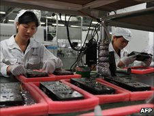 Foxconn workers at a factory in China