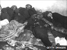 Sleeping miners at the Glamorgan Colliery powerhouse during the Tonypandy dispute of 1910