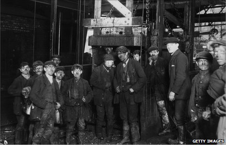 Miners preparing to go underground at the Bargoed Colliery in 1910