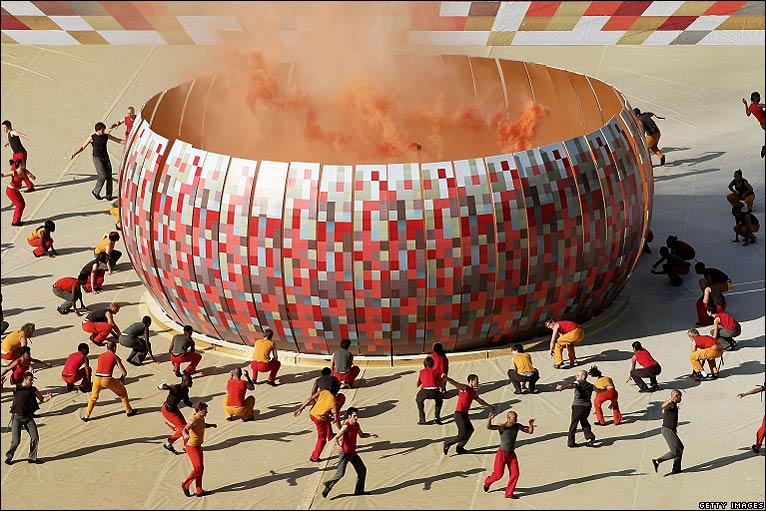 A smoking calabash, depicting the stadium design is featured during the opening ceremony