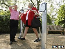 Elderly people exercise during the opening of the first dedicated pensioners playground at Hyde Park in London, May 19, 2010