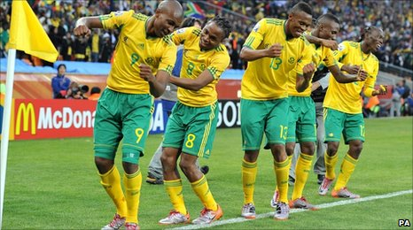 South African players celebrate their goal