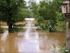 A campground flooded by the Caddo River. Photo: 11 June 2010