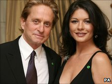 Michael Douglas and Catherine Zeta Jones at a fund-raising dinner in Cardiff