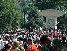 The crowd at Dupont Circle
