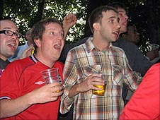 England fans with open-mouthed