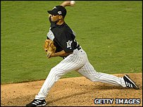 Ugueth Urbina in action during the 2003 World Series