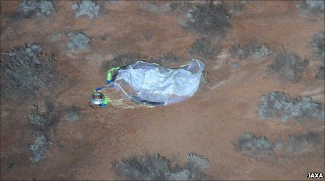 Hayabusa capsule on the ground (Jaxa)
