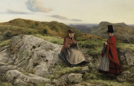 William Dyce Welsh Lanscape with Two Women Knitting (Amgueddfa Cymru – National Museum Wales)