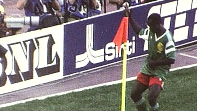 Roger Milla celebrates another goal at Italia '90