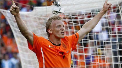 Dirk Kuyt celebrates scoring for the Netherlands