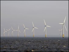 Wind turbines in the River Mersey, UK