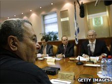 Israeli Defence Minister Ehud Barak (left) at cabinet meeting