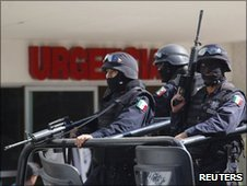 Mexican police guarding hospital in Michoacan