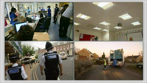 Police on the beat, rubbish collection workers, inside a class room and nurses in hospital