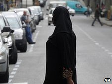 A woman wearing an Islamic veil in Lleida