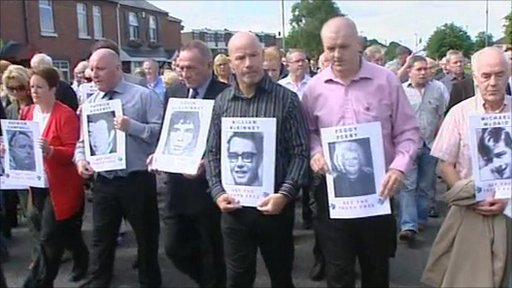 Relatives of those killed on Bloody Sunday marching