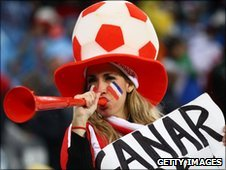 Paraguay fan with vuvuzela