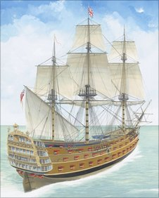 HMS Victory (1744) lies 50 miles off Alderney after striking the Casquets