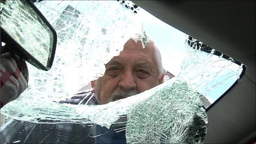 Smashed Volvo windscreen