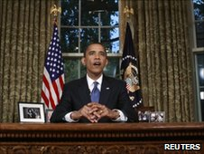 President Obama speaks from the Oval Office
