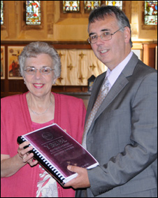 Braille Bible campaigner Rhian Evans with Dr Watcyn James of the Bible Society