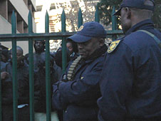 Police outside Ellis Park stadium in Johannesburg