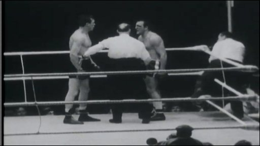 Tempers flare in the eighth and final round of the controversial Dick Richardson v Brian London European heavyweight title clash at Coney Bay Arena, Portcawl