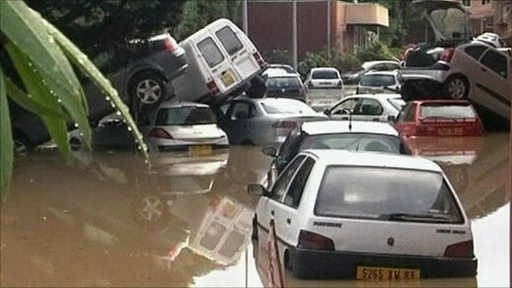 Cars piled up after flash floods in France