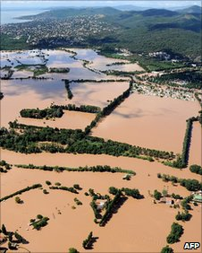 Flooding near Saint-Aygulf, south-east of Roquebrune sur Argens