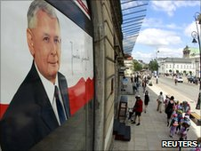 An election poster of Jaroslaw Kaczynski seen in Warsaw on 16 June 2010