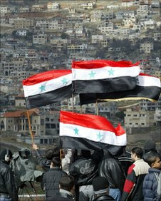 Syrians wave their national flags at Israeli border 2007