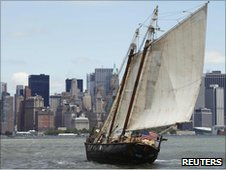 "Sailor Reid Stowe sails his 70 ft. gaff-rigged schooner ""Anne"" into the New York Harbor"