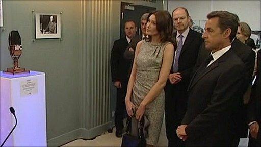 President Sarkozy and Carla Bruni-Sarkozy in Broadcasting House