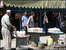 A butcher stall in the Sangin Bazaar, Helmand Province