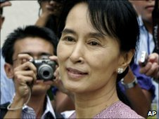 File photograph of Aung San Suu Kyi in Rangoon, Burma, in November 2009.