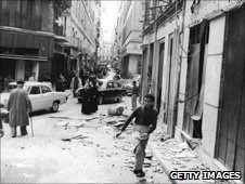 Bombed out street in Algiers 1962