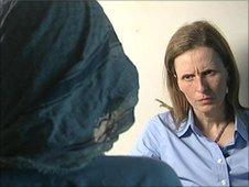 Orla Guerin, right, interviews former Taliban militant