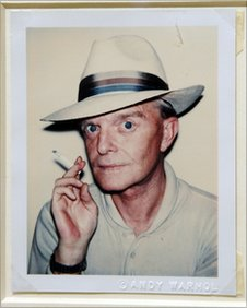 """Truman Capote"", a Polaroid portrait by artist Andy Warhol, on display in New York"