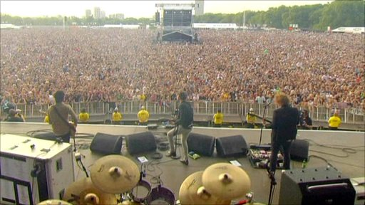 Drummer's view from back of stage at Glastonbury