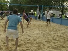 Mike Bushell joins England's footvolley team at a practice session