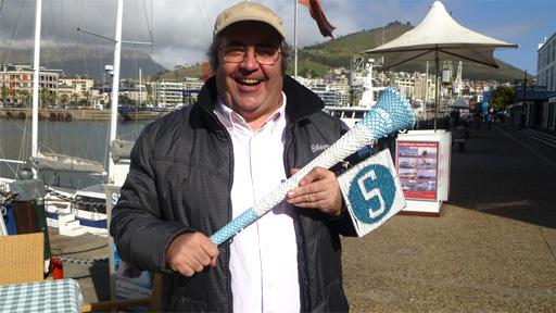 Danny Baker with 5 live's vuvuzela