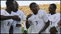 Ghana celebrate Asamoah Gyan's equaliser