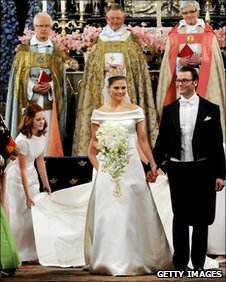 Crown Princess Victoria of Sweden and her husband Prince Daniel at their wedding 19 June 2010 in Stockholm