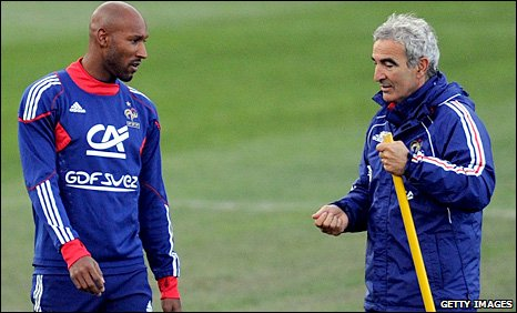 Nicolas Anelka and Raymond Domenech