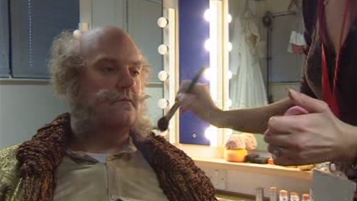 Bryn Terfel getting make-up before WNO performance of Falstaff