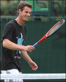 Andy Murray looks relaxed during practice at Wimbledon