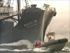 A Japanese whaling vessel and environmental protesters (Image: PA)