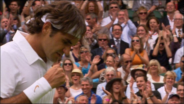 Roger Federer turns the match